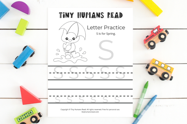 S is for Spring Worksheet Printable for Kids from Tiny Humans Read