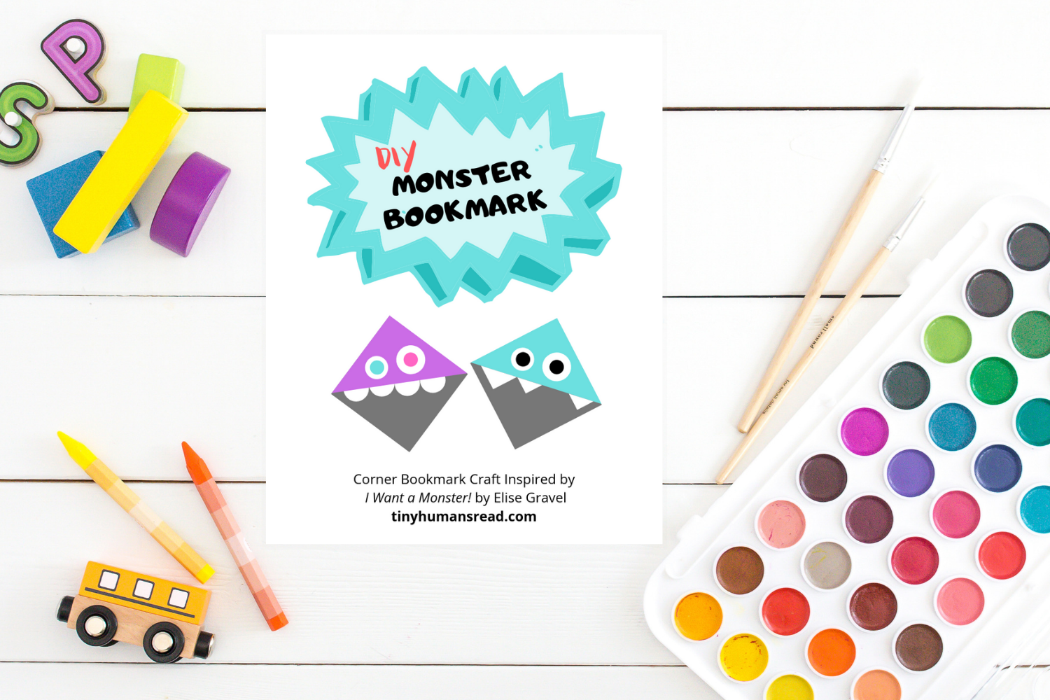 Monster Bookmark Craft for Kids - Activities for Kids from Tiny Humans Read Kids Book Subscription Box